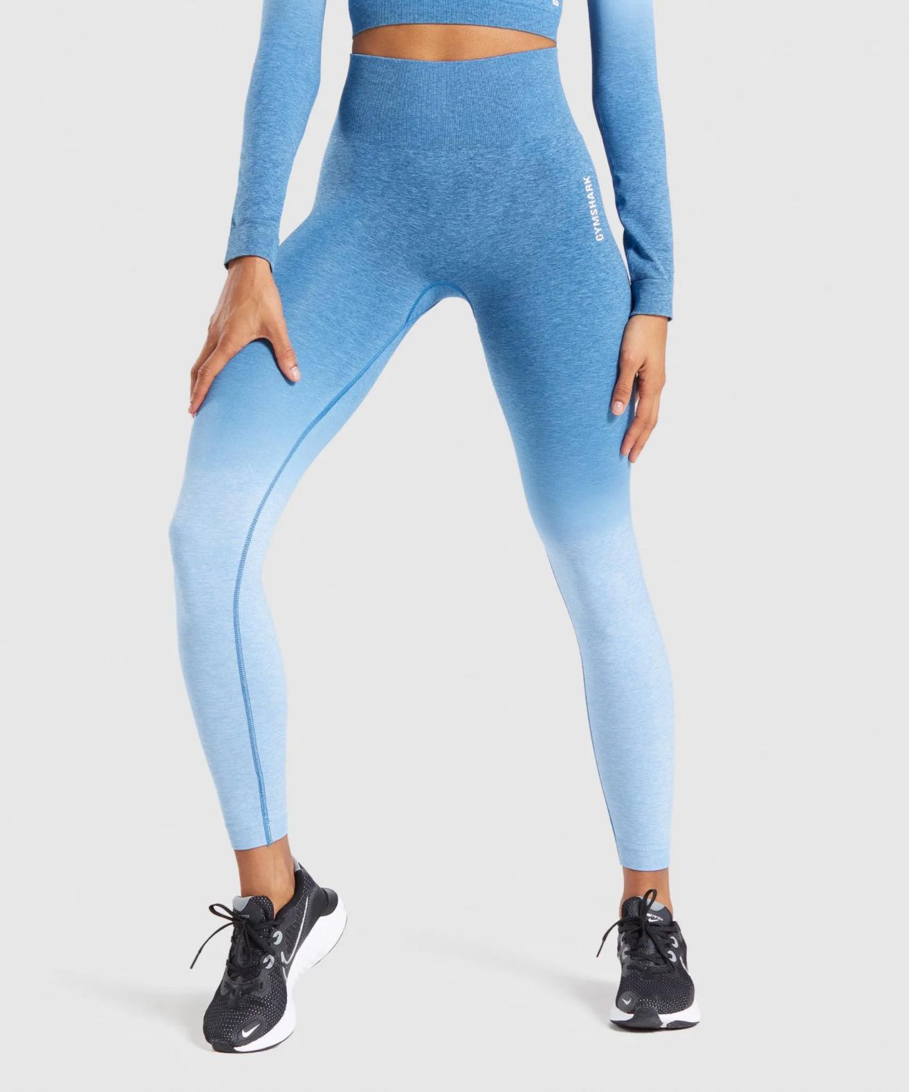 Gymshark Adapt Ombre Seamless in Powder Blue Marl:Luna blue