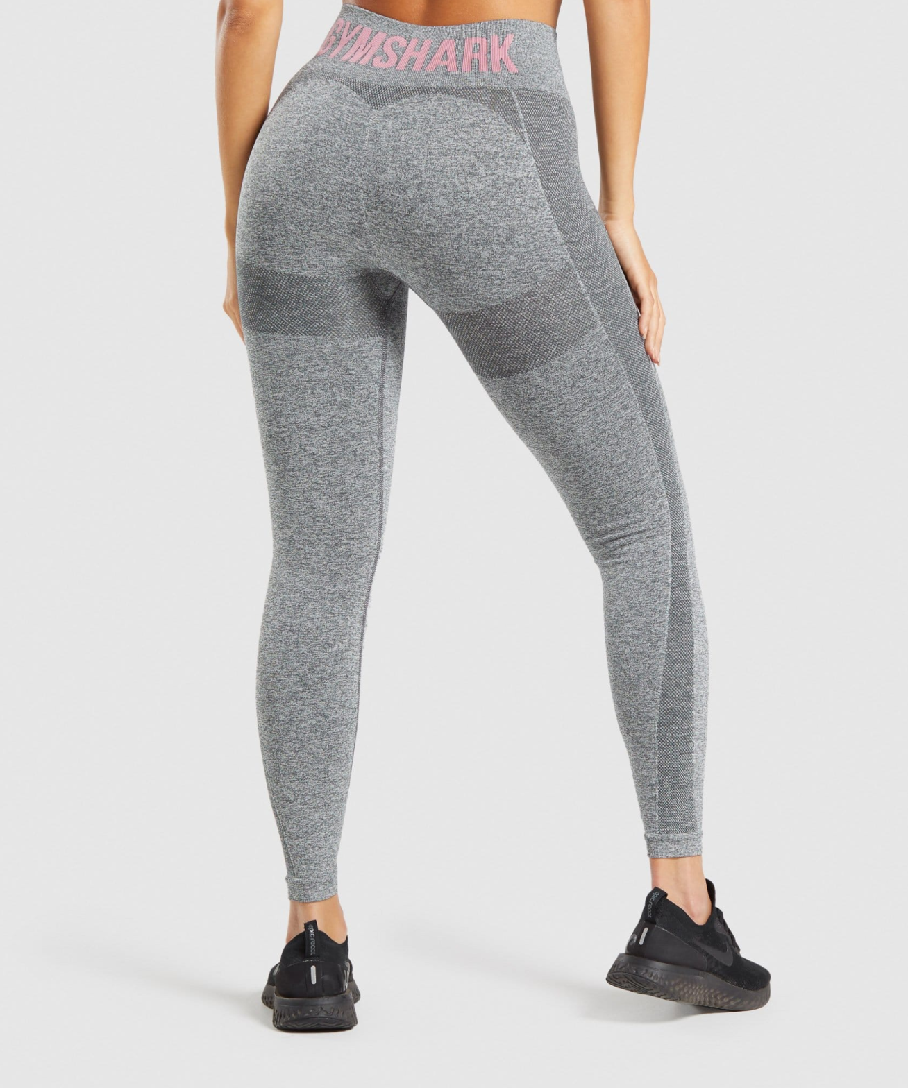 Flex High Waisted Leggings in Charcoal Grey/Ruby Pink