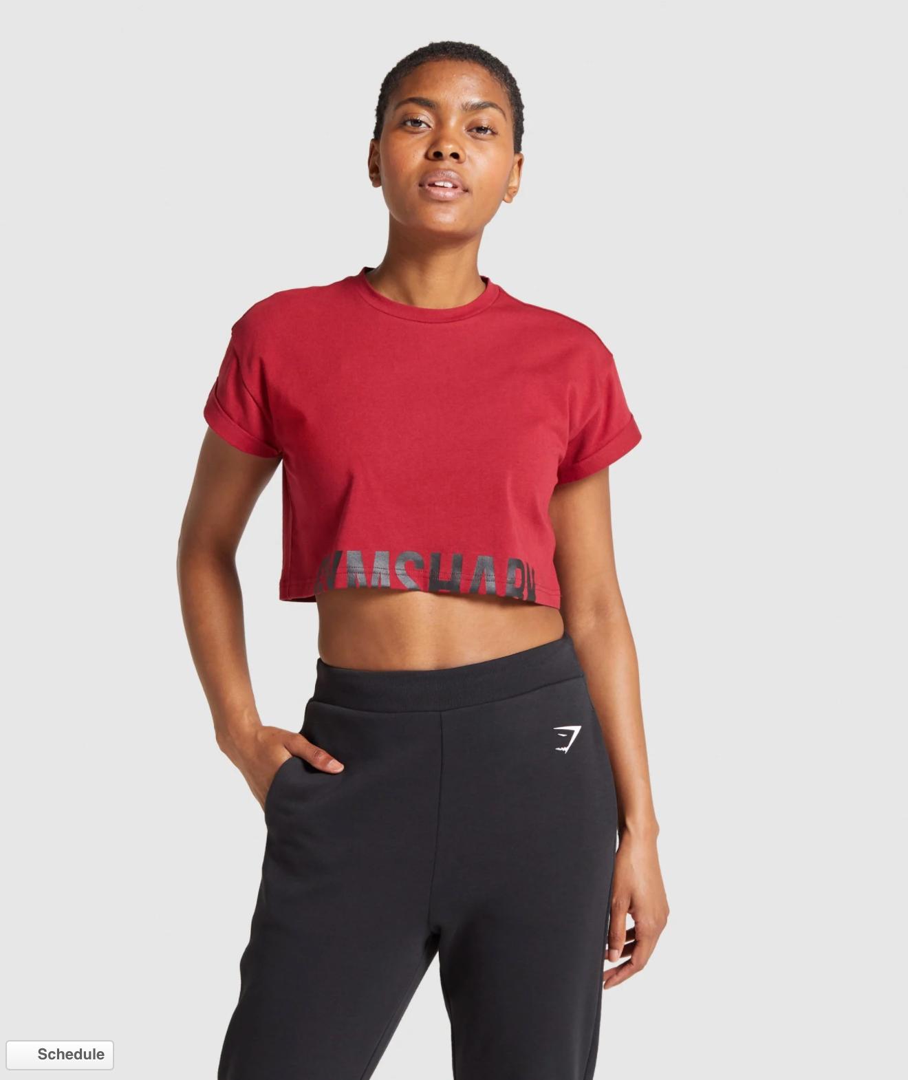 Gymshark Fraction Crop Top in burgundy red