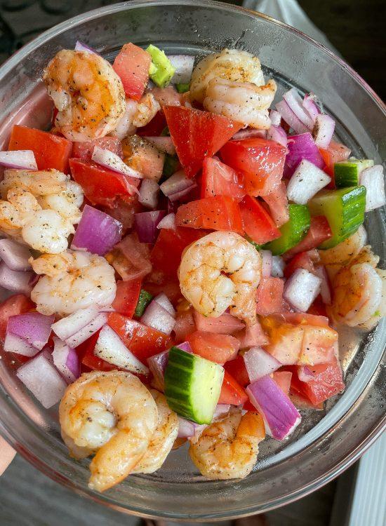 Low Carb Tomato, Cucumber, Avocado Shrimp Salad
